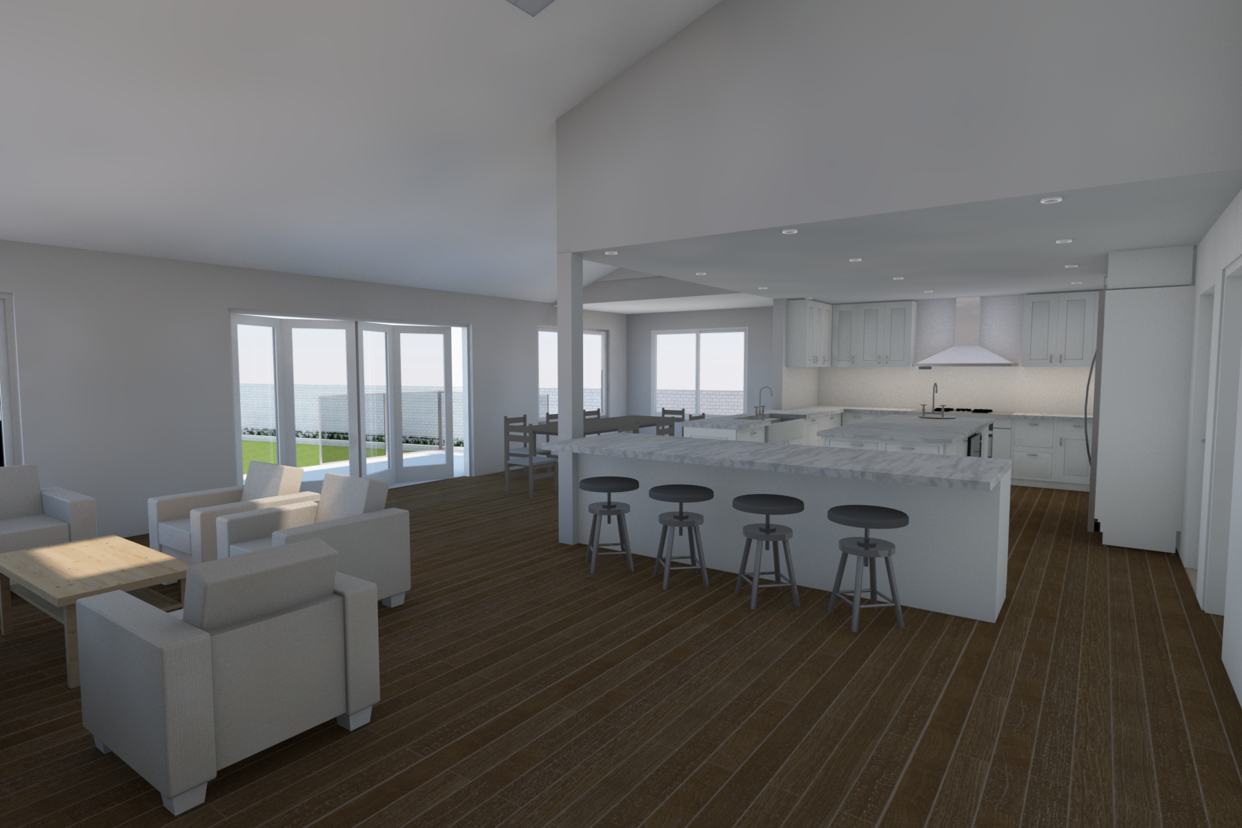 Living Room and Kitchen Render